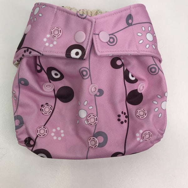 Grovia Pink Pattern Snap Adjustable Diaper Cover - OS