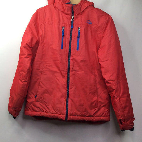 LL Bean Red Fleece Lined Detacachable Hooded Snow/Ski Coat 14-16