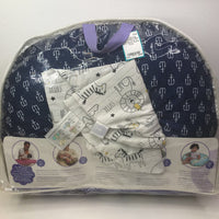 Boppy Nursing Pillow w/Blue White Anchor Cover & Extra Safari Animal Cover