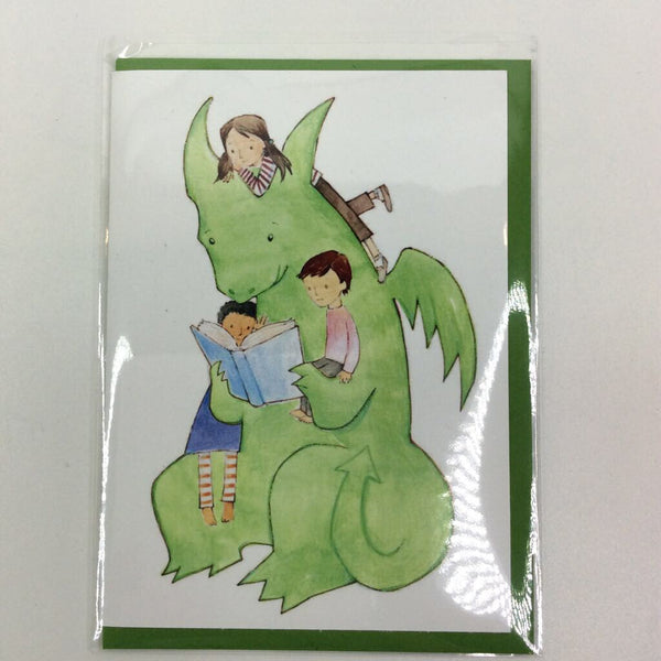 Clover Brown Locally Made Watercolor Greeting Card - Reading Dragon w/Kids (medium)