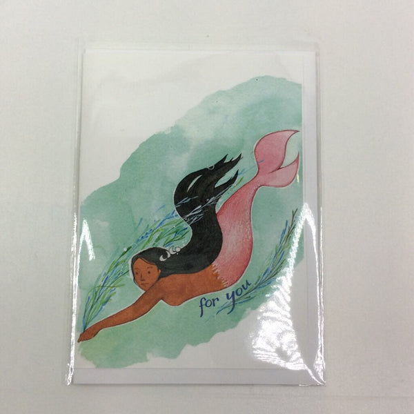 Clover Brown Locally Made Watercolor Greeting Card - Mermaid 'For You' (medium)