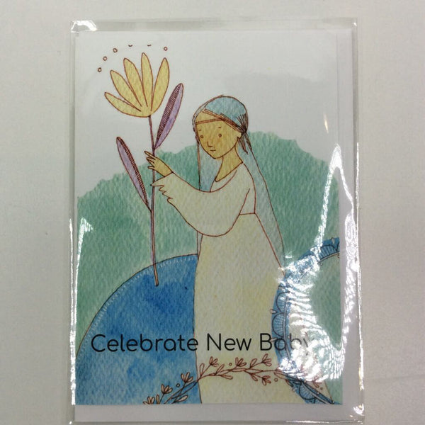 Clover Brown Locally Made Watercolor Greeting Card - Girl w/Flower 'Celebrate New Baby' (medium)