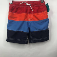 Size 3 (90): Hanna Andersson Red Orange Blue Mesh-Lined Swim Shorts