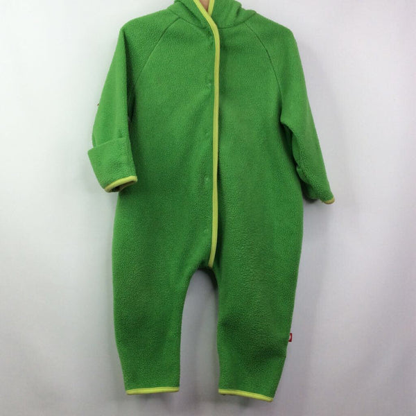 Zutano Green-Fleece W/Light-Green-Trim Pointed Hood Bunting 12m