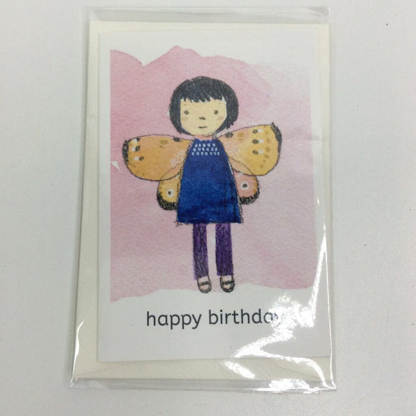 Clover Brown Locally Made Watercolor Greeting Card - Fairy Blue Dress Orange Wings 'Happy Birthday' (small)