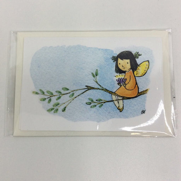 Clover Brown Locally Made Watercolor Greeting Card - Orange Dress Fairy on Flower Branch (small)
