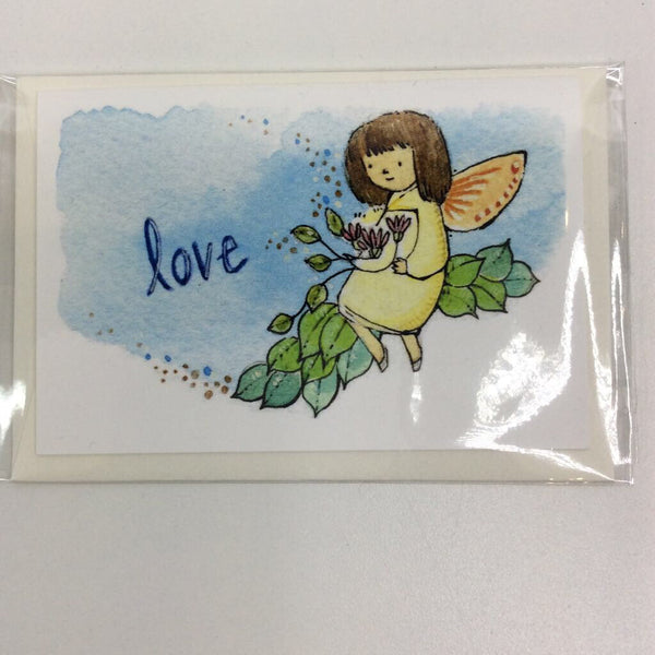 Clover Brown Locally Made Watercolor Greeting Card - Yellow Dress 'Love' Fairy on Flower Branch (small)