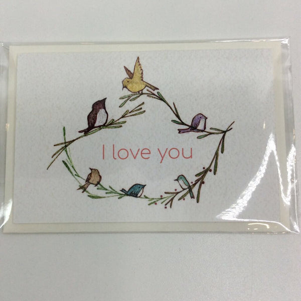 Clover Brown Locally Made Watercolor Greeting Card - Birdie Branch Wreath 'I Love You' (small)