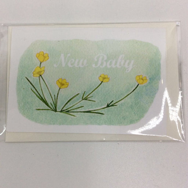Clover Brown Locally Made Watercolor Greeting Card - Yellow Flower 'New Baby' (small)