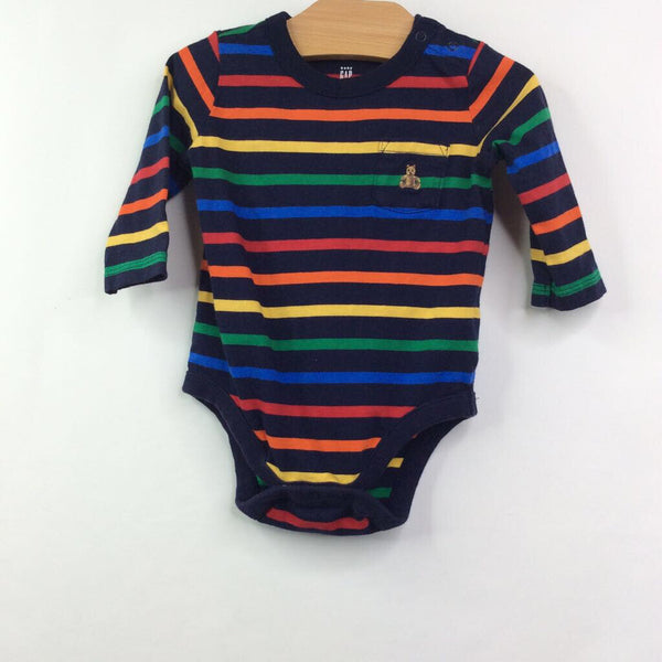 Baby Gap Long Sleeve Navy/Rainbow Stripe Onesie 3-6m