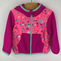 The North Face Pink Pattern Hooded Fleece Jacket 6-12m
