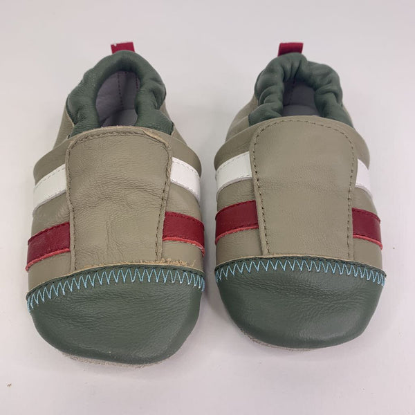 Naartjie Dark-Sage-Green/Taupe/Red/White Slip On Baby Shoes 12-18m