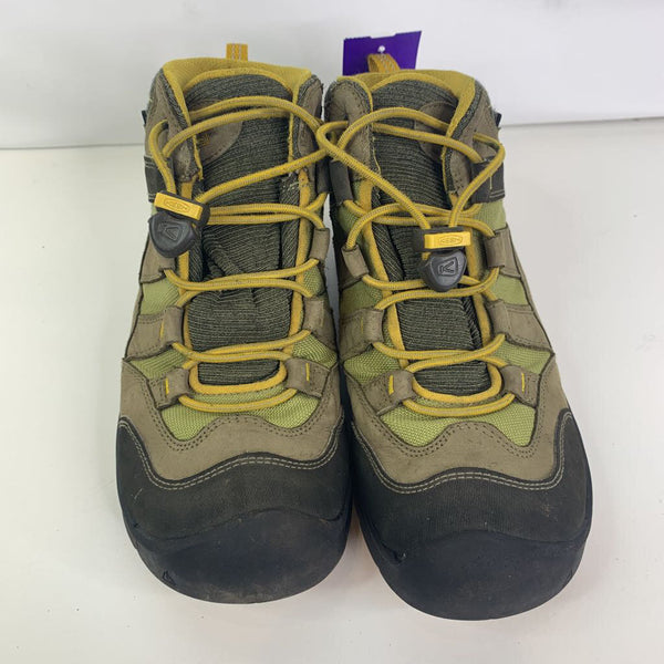Keen Brown/Olive/Yellow Toggle Lace Hiking Boots 4Y