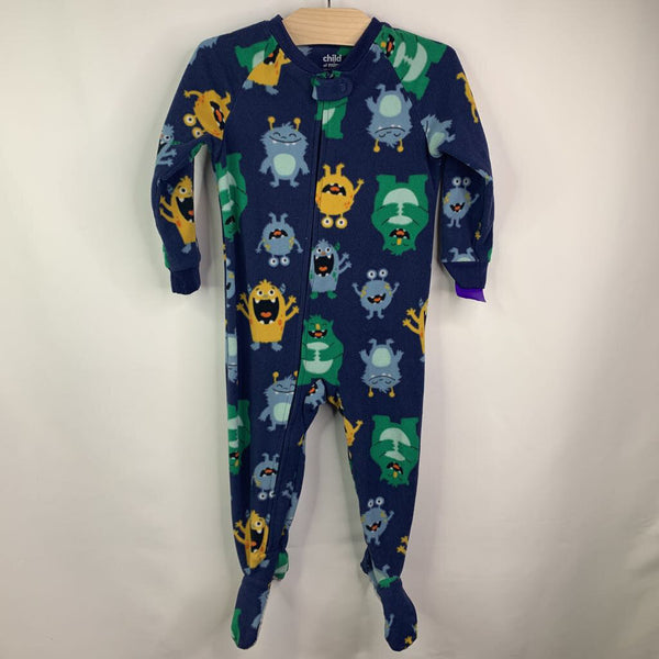 Carter's Fuzzy Blue Green Monsters Pjs 24m