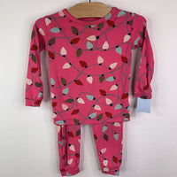Gap Pink Holiday Lights 2pc Pjs 18-24m