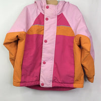 Hanna Andersson Pink/Orange Color-Blocked Fleece Lined Winter Coat 5 (110) REDUCED