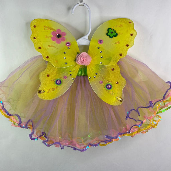 Tutu Cute Toddler Fairy Wings & Tutu Set 1-3T - Yellow/Pink/Purple