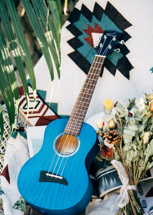 "26"" Tenor Ukulele Ash Wood Matte Blue"