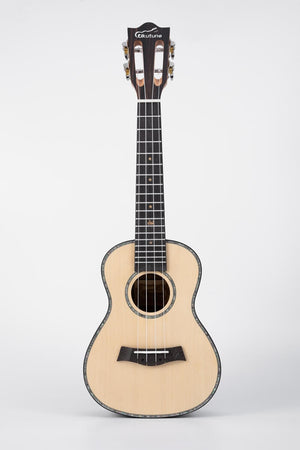"23"" Concert Ukulele Solid Spruce Striped Ebony Wood Natural Color"
