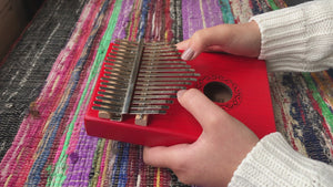 Ukutune KLO1 Kalimba Solid Okoume Wood Red Color