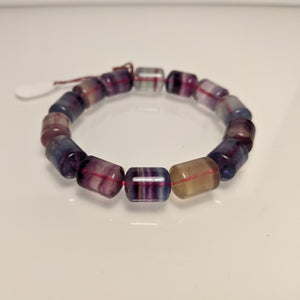 PREMIUM COLLECTION - Multi color Tourmaline barrel bracelet/ seven chakra