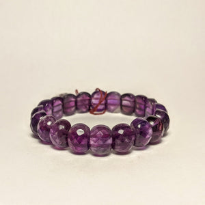 Amethyst gem cut bracelet -  natural stones