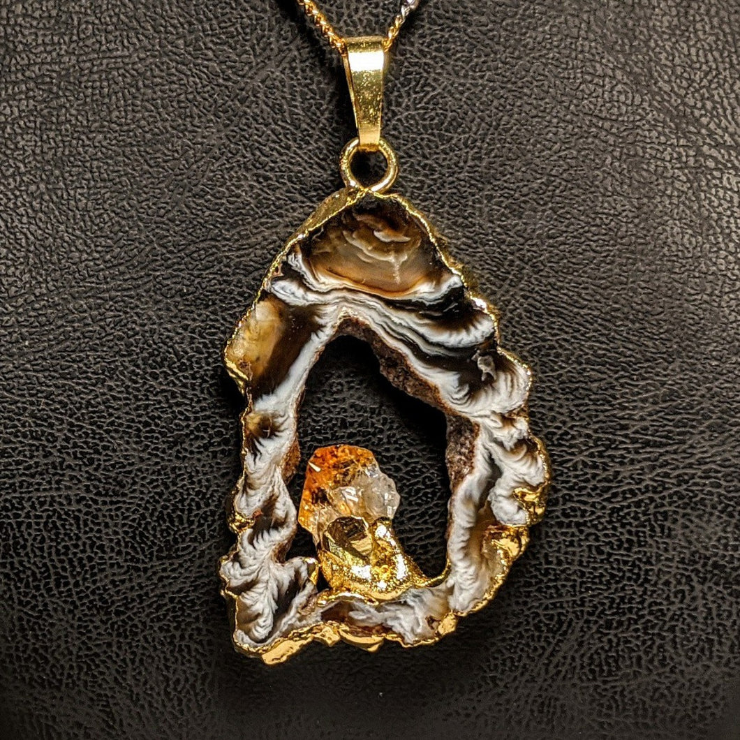 Citrine and fire Agate Pendant