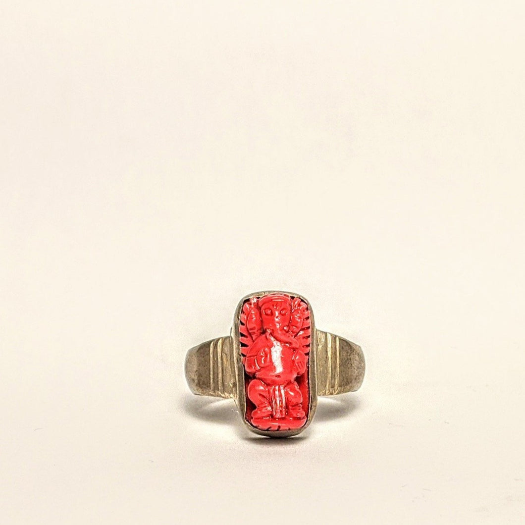 Ganesh - red Coral silver ring