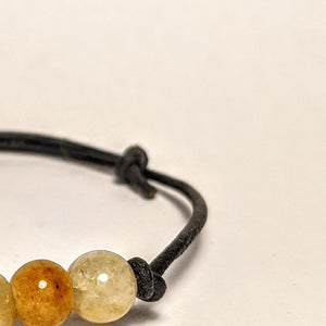 Yellow Jade Bracelet/ leather code bracelet