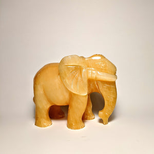 Yellow Jade Elephant statute  -Crystal Collection / Handmade