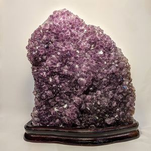 Rutilated Amethyst Geode on stand - Crystal Collection / Natural Royal Amethyst