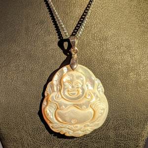 Natural Mother of Pearl Happy Buddha - Pearl necklace pendant
