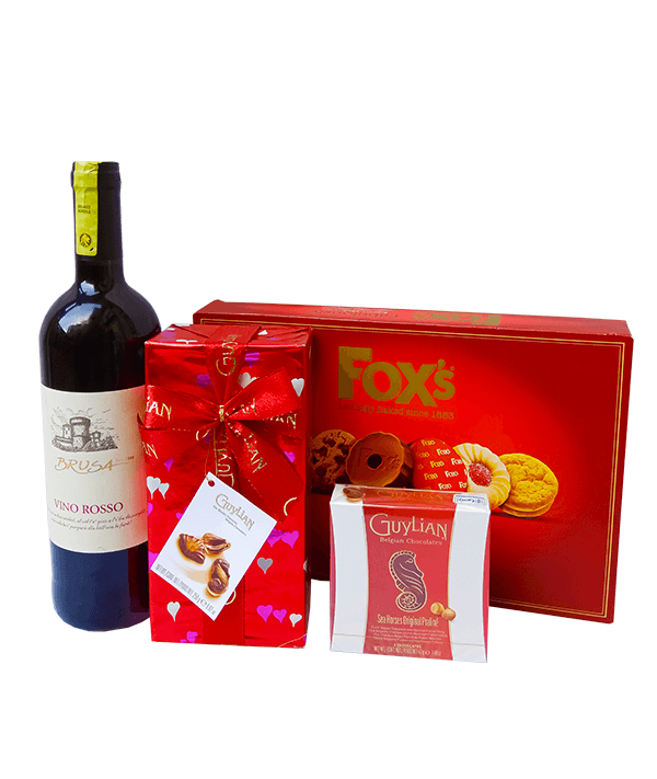 Passionate love wine and chocolates.