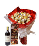 Tenderness choco-lollipop bouquet and wine.