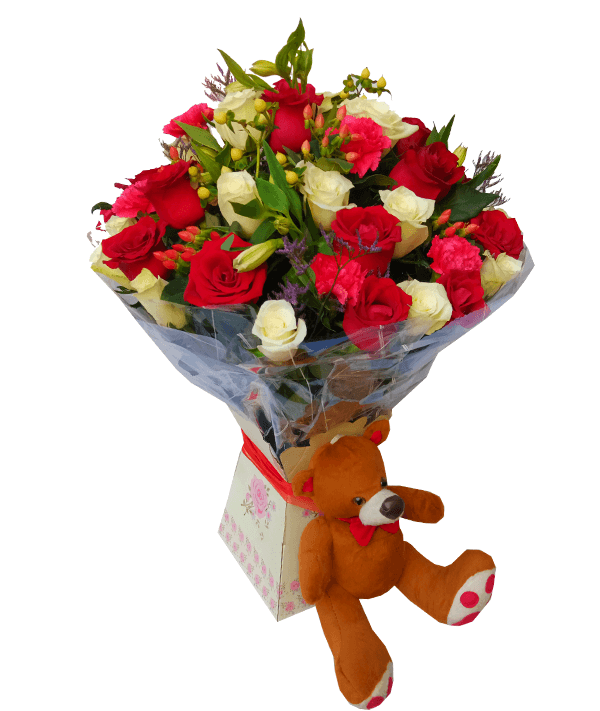 Amor royal bouquet and teddy bear.