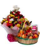 Fragrant sweet water bouquet and fruit basket.