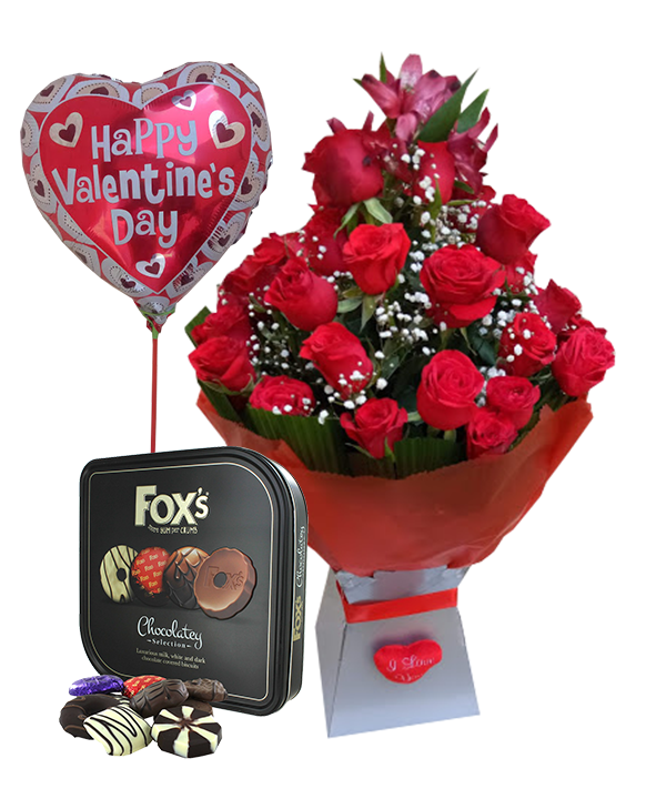 simona valentines red bouquet and chocolates