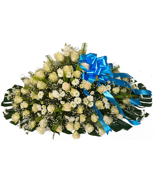 Classic white and green casket(blue ribbon)