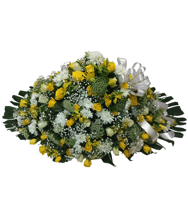 Executive yellow and white casket(white ribbon)
