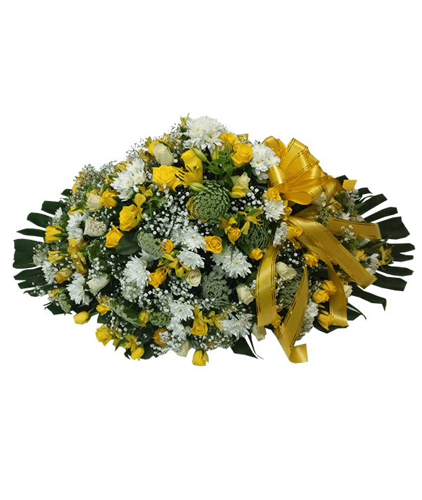 Executive yellow and white casket(yellow ribbon)