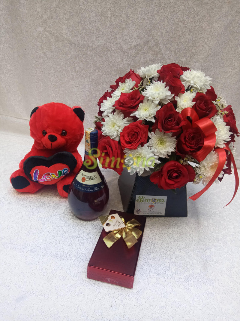 Adorable bouquet with teddy bear, Guylian chocolate and red wine