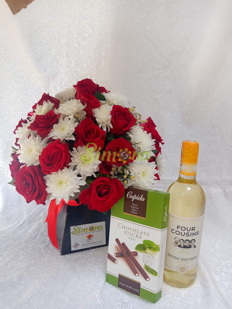 Adorable bouquet with white wine and Hamlet mint chocolate