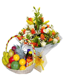 Blooming Joy royal bouquet and fruit basket