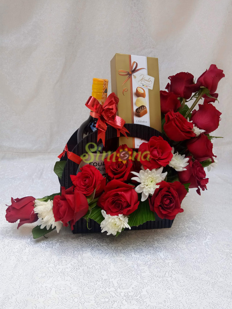 Bonny bouquet - red wine and hamlet Chocolate