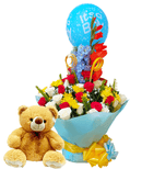 Celebration water bouquet and Teddy bear