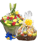 Charming Prince water bouquet and fruit basket