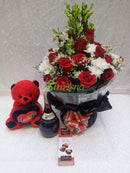 Diamond bouquet with red wine, cupido chocolate and teddy bear