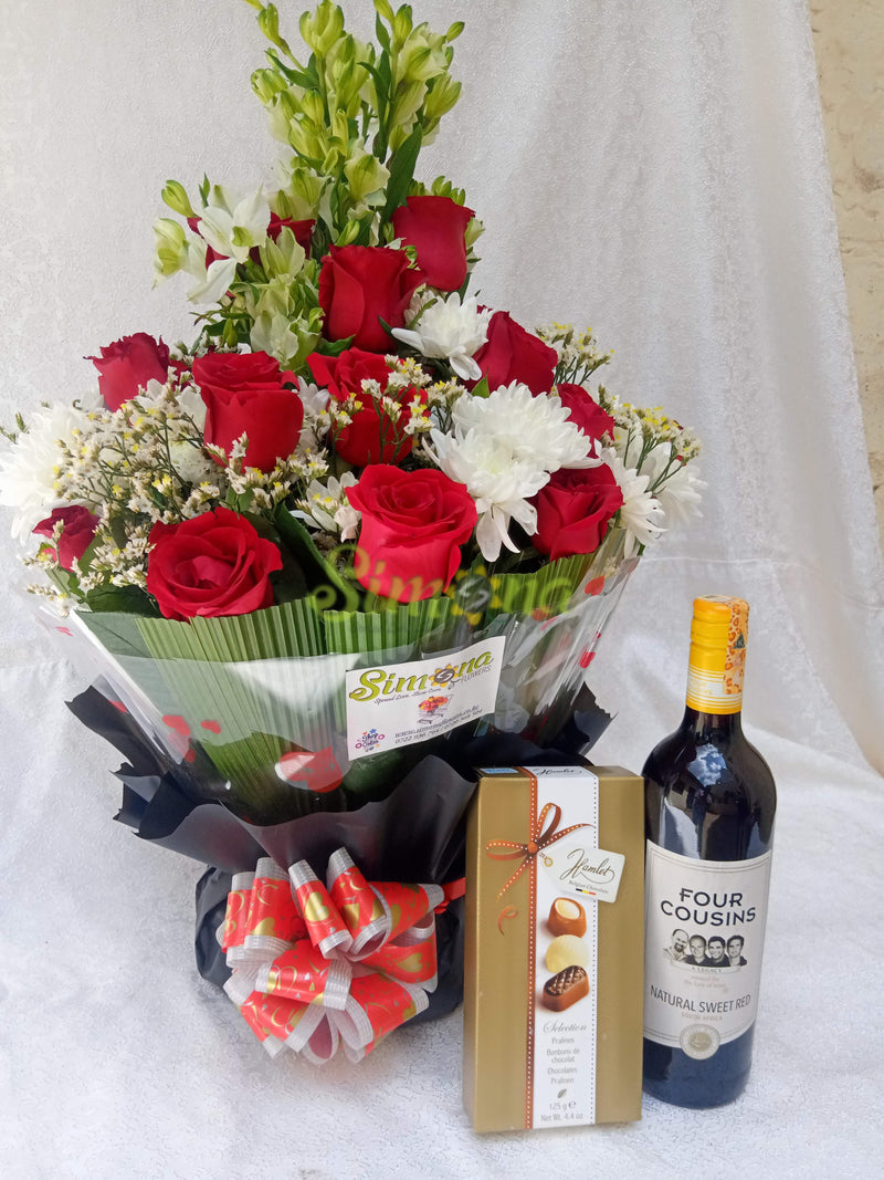 Diamond bouquet with red wine and hamlet chocolate