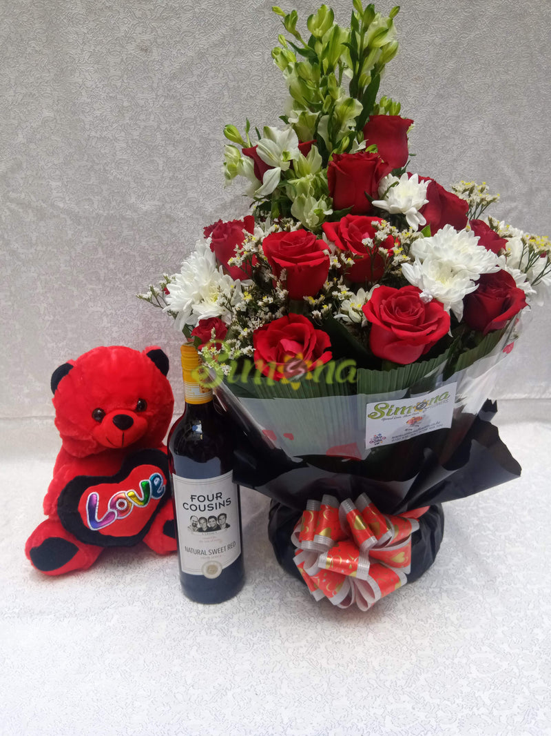 Diamond bouquet with red wine and teddy bear