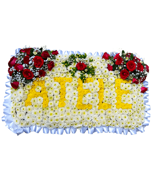 Lettred funeral pillow